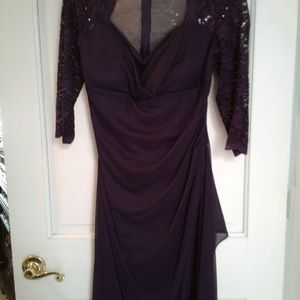 Plum Formal Dress with Shoes and Clutch